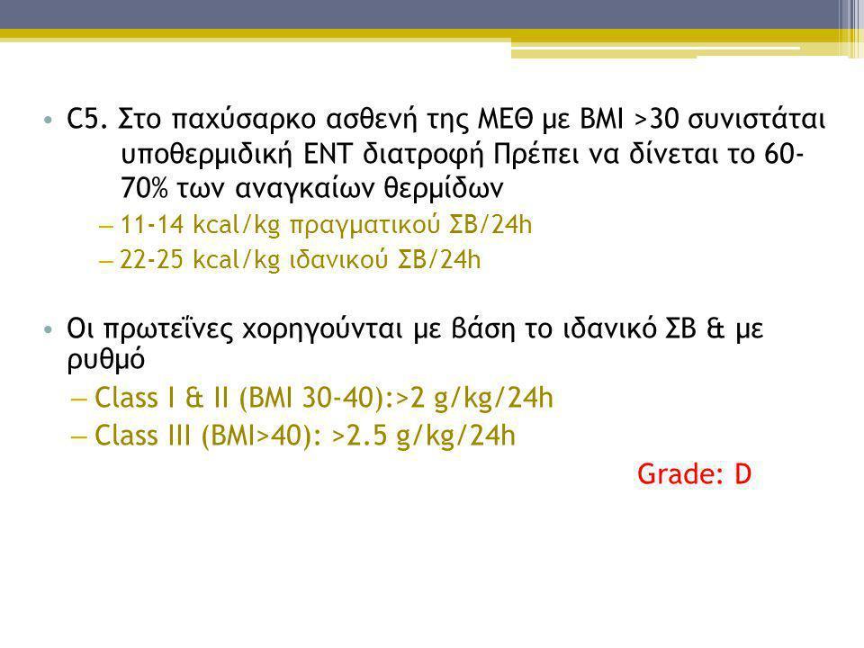 C5. Στο παχύσαρκο ασθενή της ΜΕΘ με BMI >30 συνιστάται
