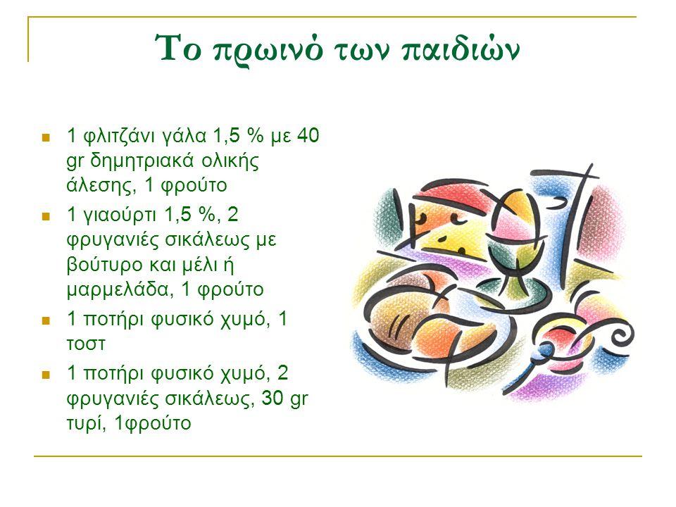 Το πρωινό των παιδιών 1 φλιτζάνι γάλα 1,5 % με 40 gr δημητριακά ολικής άλεσης, 1 φρούτο.
