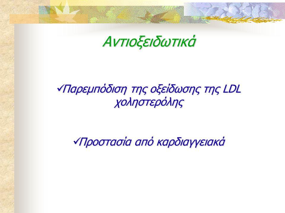 Αντιοξειδωτικά Παρεμπόδιση της οξείδωσης της LDL χοληστερόλης