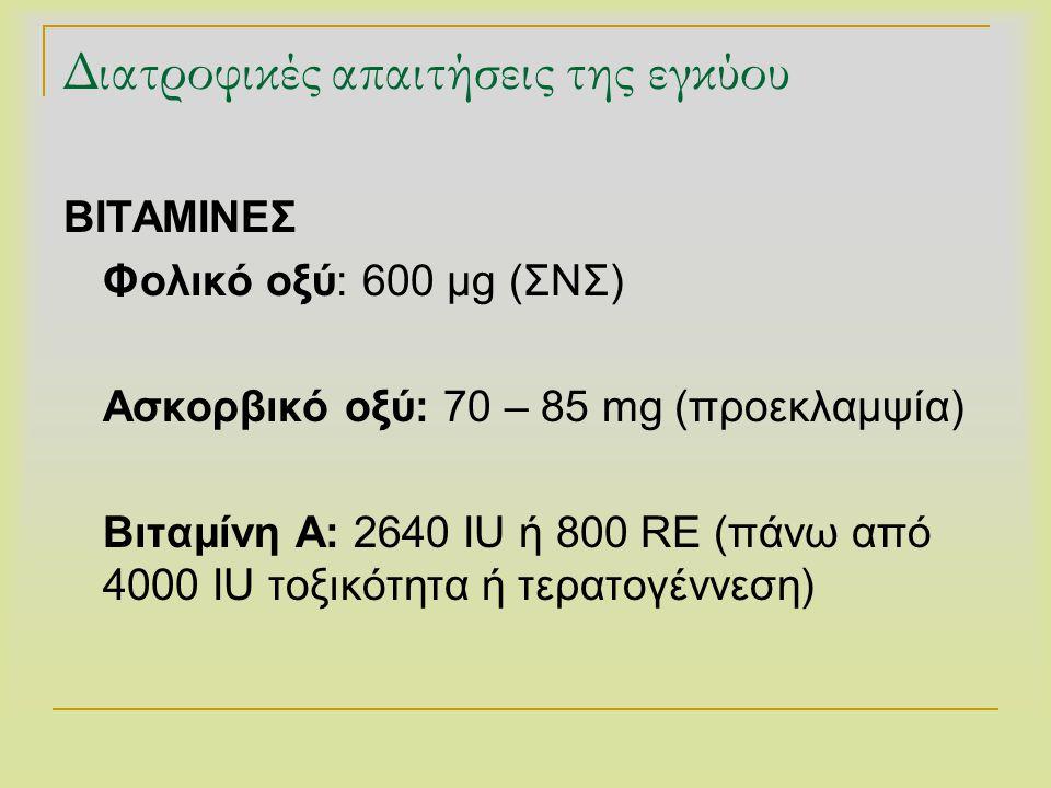 Διατροφικές απαιτήσεις της εγκύου