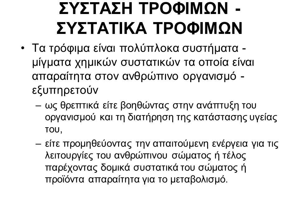 ΣΥΣΤΑΣΗ ΤΡΟΦΙΜΩΝ - ΣΥΣΤΑΤΙΚΑ ΤΡΟΦΙΜΩΝ