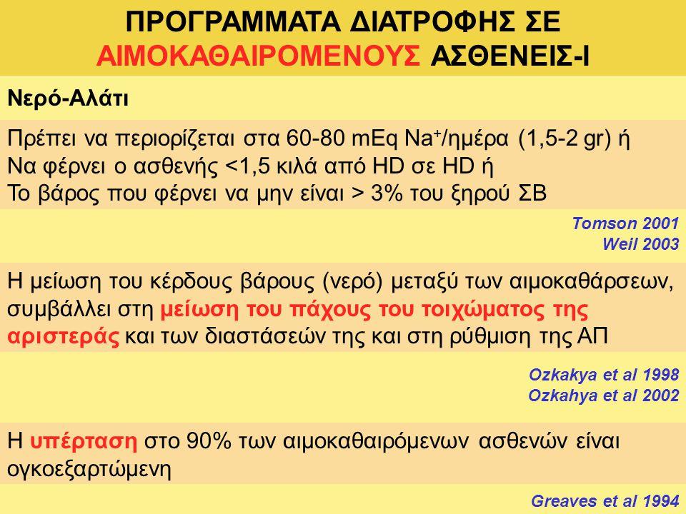 ΠΡΟΓΡΑΜΜΑΤΑ ΔΙΑΤΡΟΦΗΣ ΣΕ ΑΙΜΟΚΑΘΑΙΡΟΜΕΝΟΥΣ ΑΣΘΕΝΕΙΣ-I
