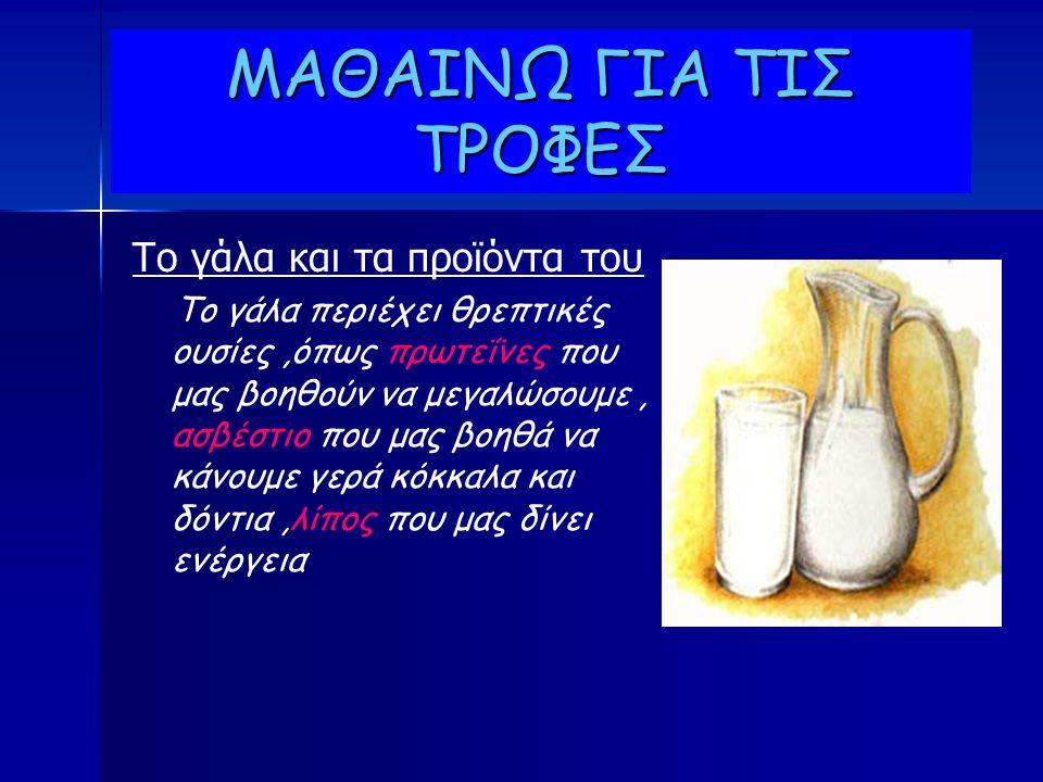 ΜΑΘΑΙΝΩ ΓΙΑ ΤΙΣ ΤΡΟΦΕΣ Το γάλα και τα προϊόντα του