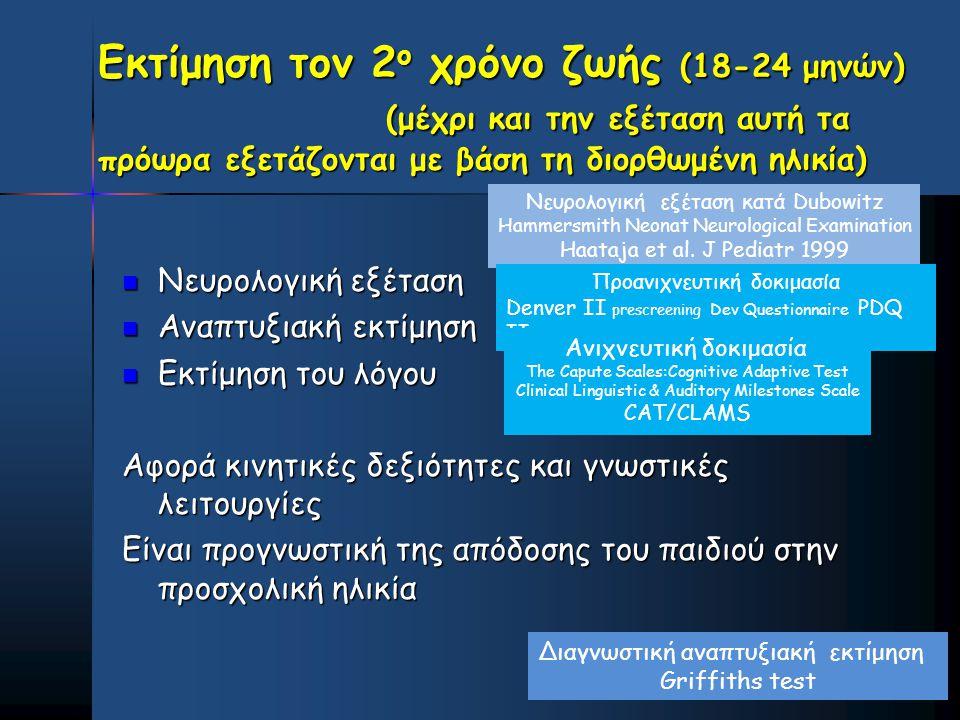 Εκτίμηση τον 2ο χρόνο ζωής (18-24 μηνών)