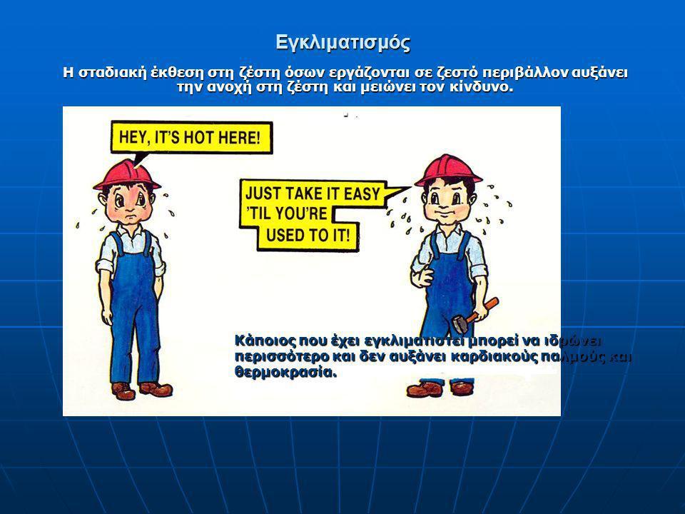Εγκλιματισμός Η σταδιακή έκθεση στη ζέστη όσων εργάζονται σε ζεστό περιβάλλον αυξάνει την ανοχή στη ζέστη και μειώνει τον κίνδυνο.