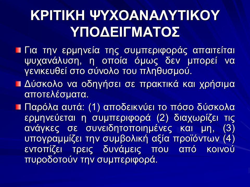 ΚΡΙΤΙΚΗ ΨΥΧΟΑΝΑΛΥΤΙΚΟΥ ΥΠΟΔΕΙΓΜΑΤΟΣ