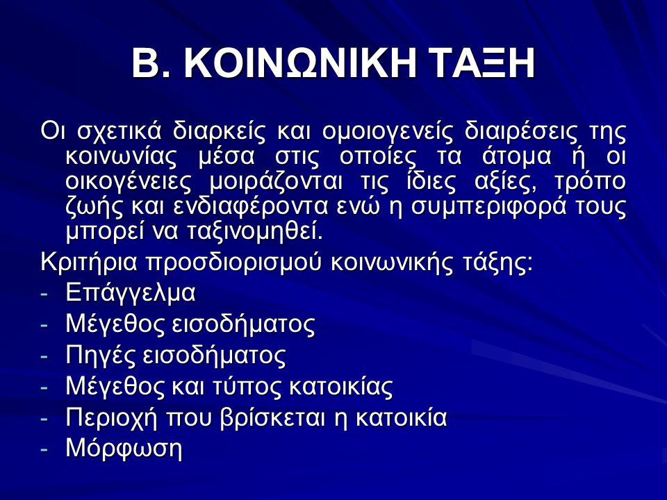 Β. ΚΟΙΝΩΝΙΚΗ ΤΑΞΗ