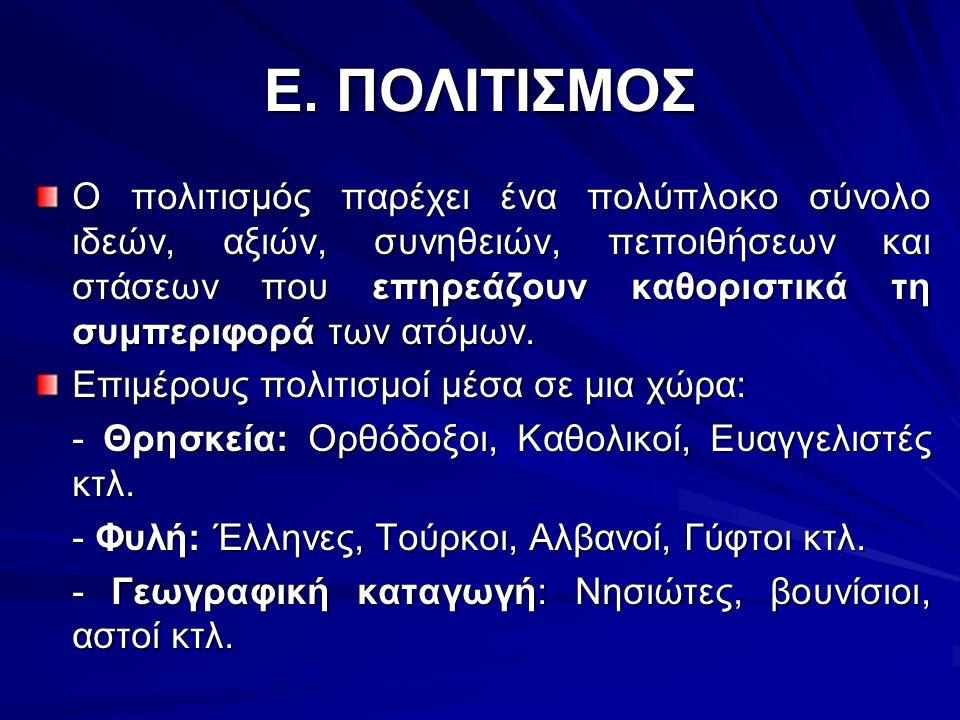 Ε. ΠΟΛΙΤΙΣΜΟΣ