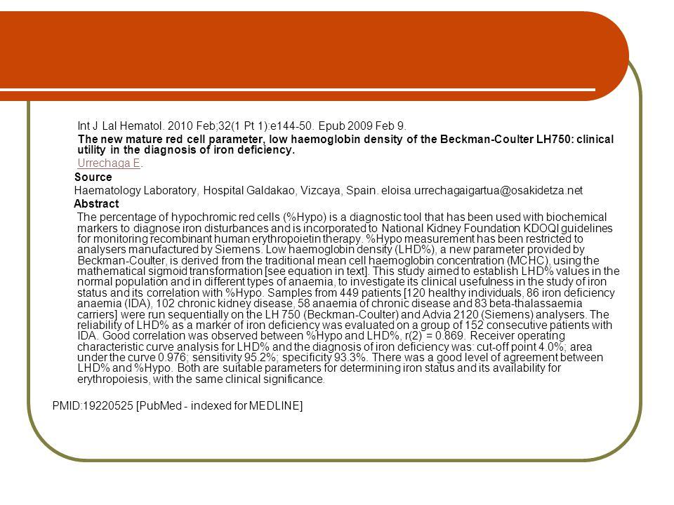 Int J Lal Hematol. 2010 Feb;32(1 Pt 1):e144-50. Epub 2009 Feb 9.