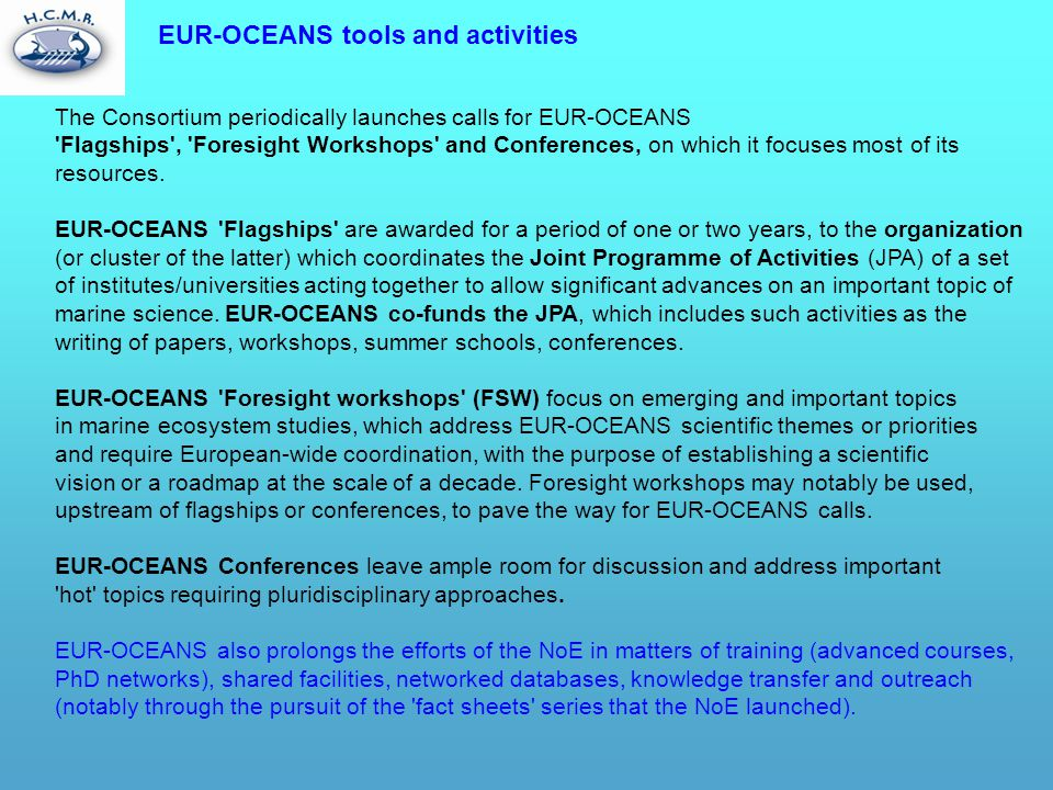 EUR-OCEANS tools and activities