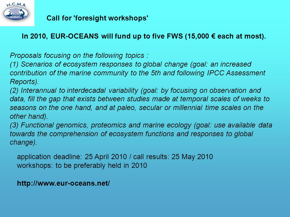 Call for foresight workshops
