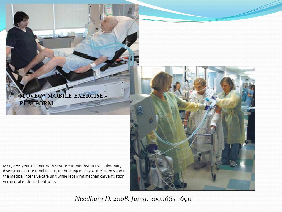 Needham D, 2008. Jama; 300:1685-1690 MOVEO® MOBILE EXERCISE - PLATFORM
