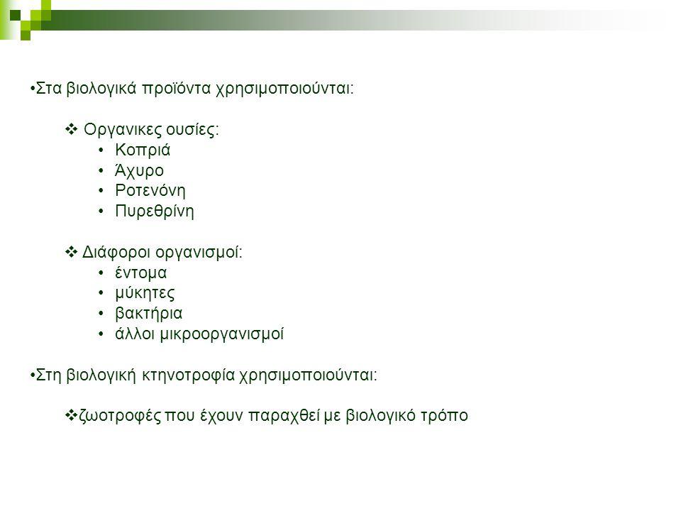 Στα βιολογικά προϊόντα χρησιμοποιούνται: