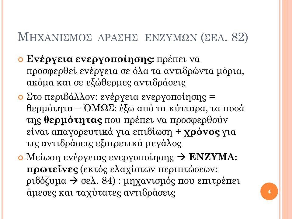 Μηχανισμοσ δρασησ ενζυμων (σελ. 82)