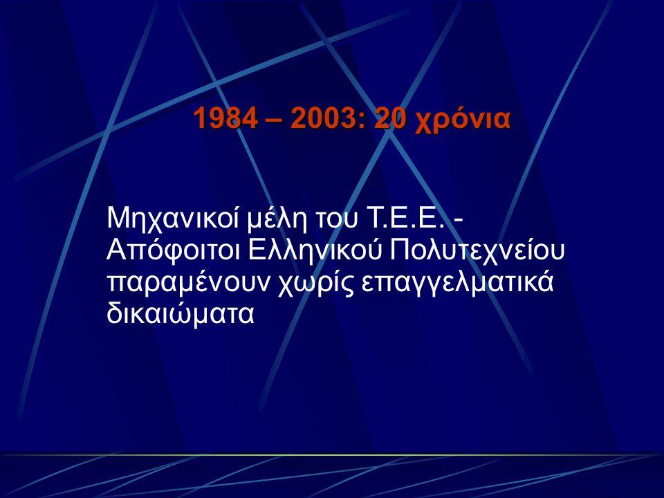 1984 – 2003: 20 χρόνια Μηχανικοί μέλη του Τ.Ε.Ε.