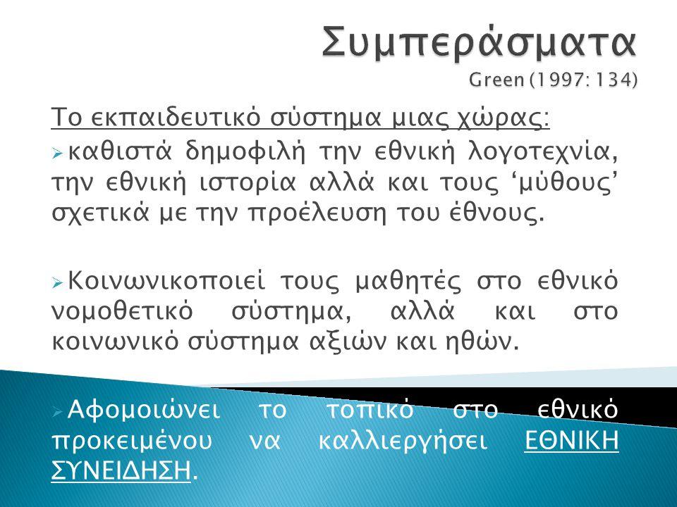 Συμπεράσματα Green (1997: 134)