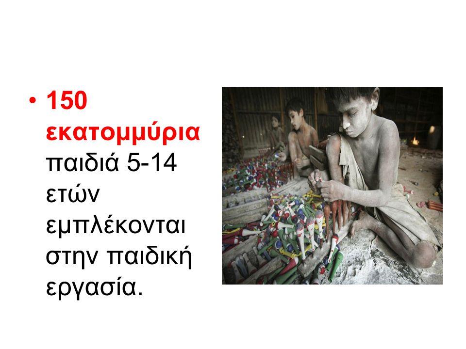 150 εκατομμύρια παιδιά 5-14 ετών εμπλέκονται στην παιδική εργασία.