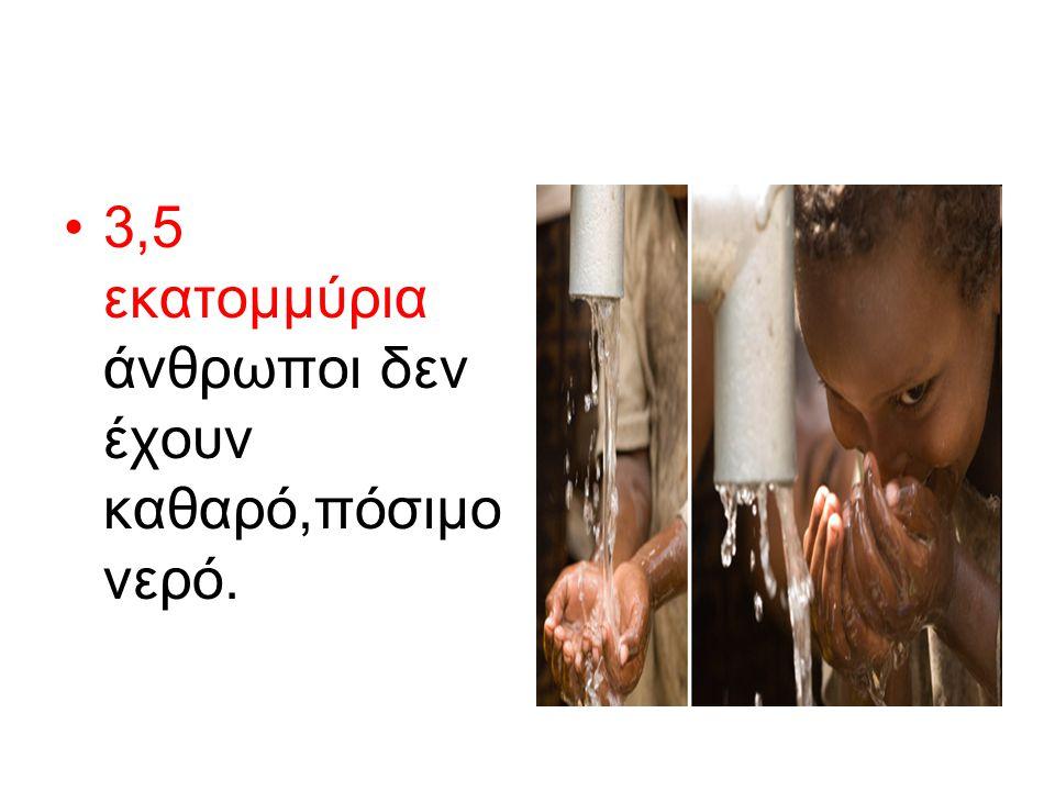 3,5 εκατομμύρια άνθρωποι δεν έχουν καθαρό,πόσιμο νερό.