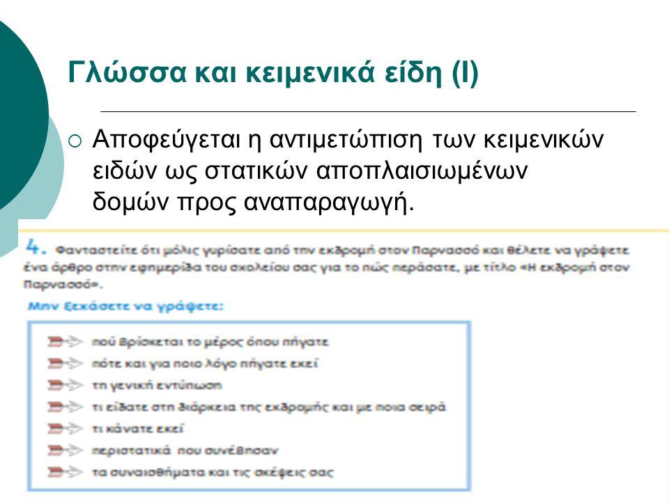 Γλώσσα και κειμενικά είδη (Ι)