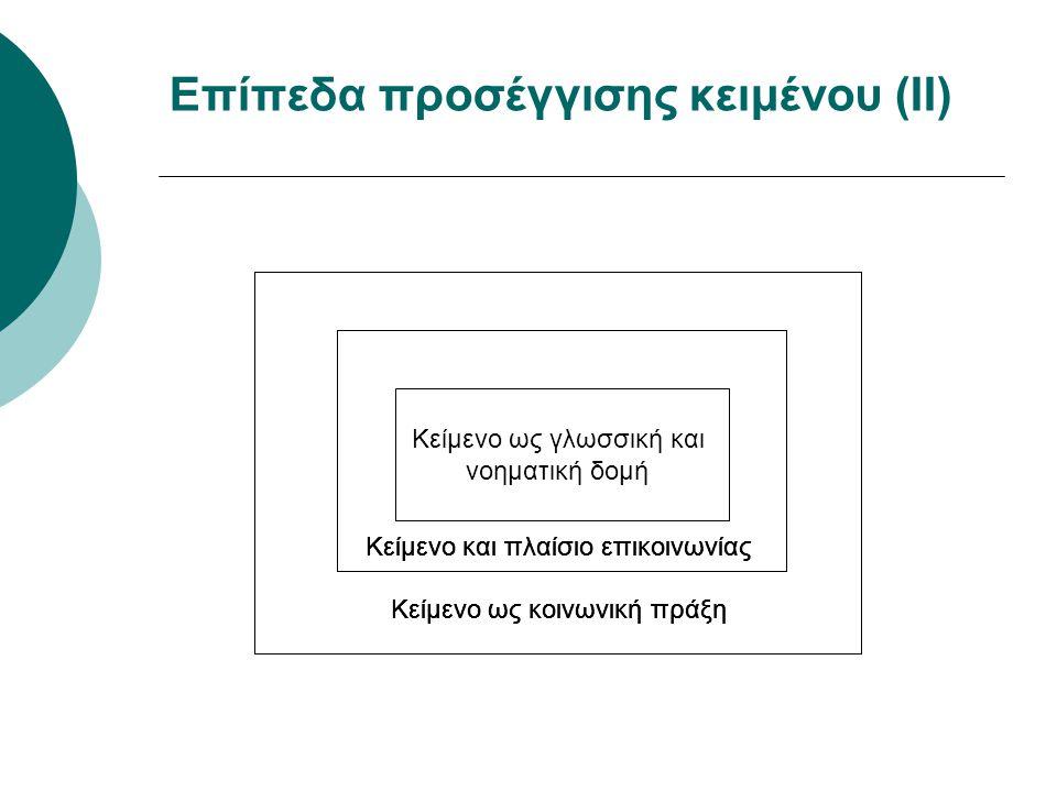 Επίπεδα προσέγγισης κειμένου (ΙΙ)