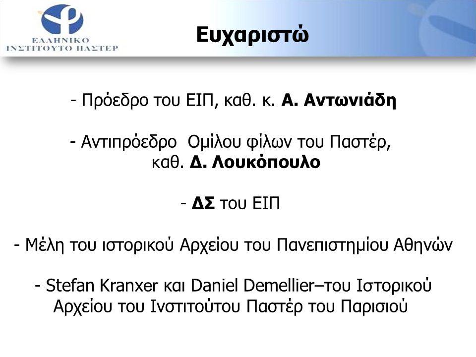 Ευχαριστώ - Πρόεδρο του ΕΙΠ, καθ. κ. Α. Αντωνιάδη