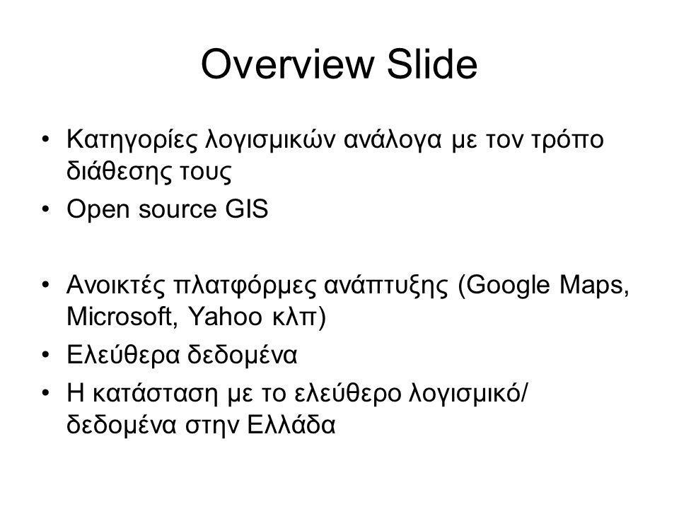 Overview Slide Κατηγορίες λογισμικών ανάλογα με τον τρόπο διάθεσης τους. Open source GIS.