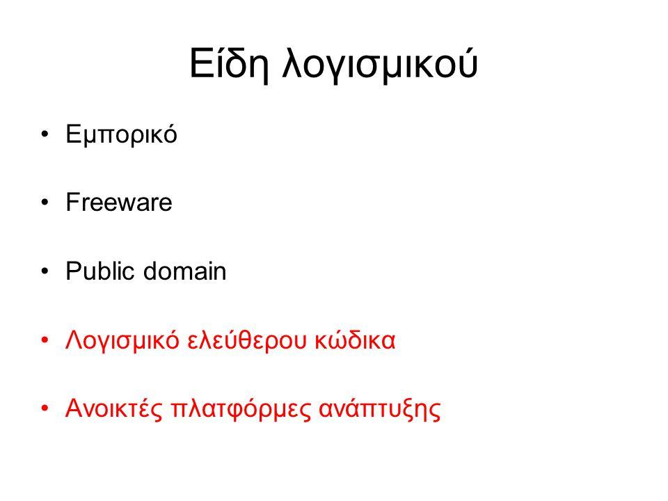 Είδη λογισμικού Εμπορικό Freeware Public domain