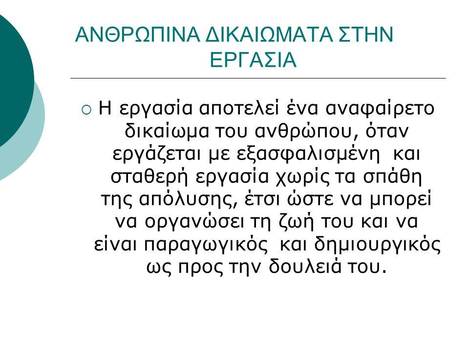 ΑΝΘΡΩΠΙΝΑ ΔΙΚΑΙΩΜΑΤΑ ΣΤΗΝ ΕΡΓΑΣΙΑ