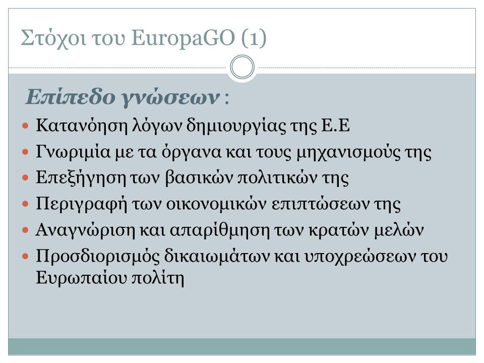 Στόχοι του EuropaGO (1) Επίπεδο γνώσεων :