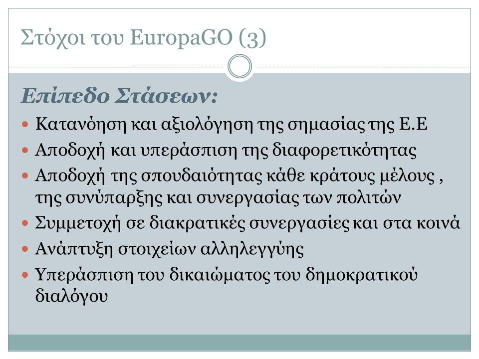 Στόχοι του EuropaGO (3) Επίπεδο Στάσεων: