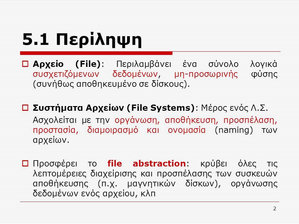 5.1 Περίληψη Αρχείο (File): Περιλαμβάνει ένα σύνολο λογικά συσχετιζόμενων δεδομένων, μη-προσωρινής φύσης (συνήθως αποθηκευμένο σε δίσκους).