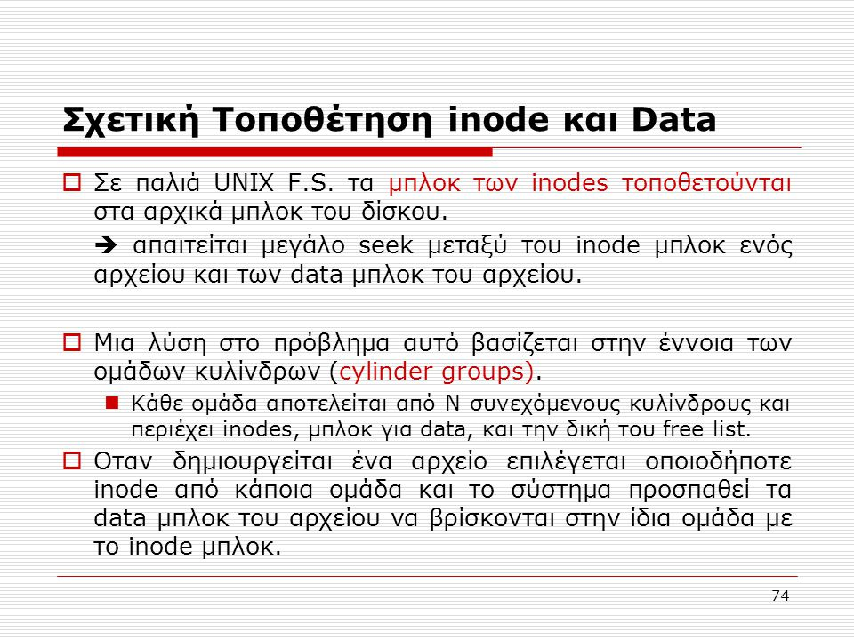 Σχετική Τοποθέτηση inode και Data