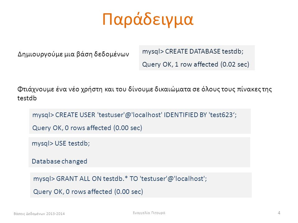 Παράδειγμα mysql> CREATE DATABASE testdb;