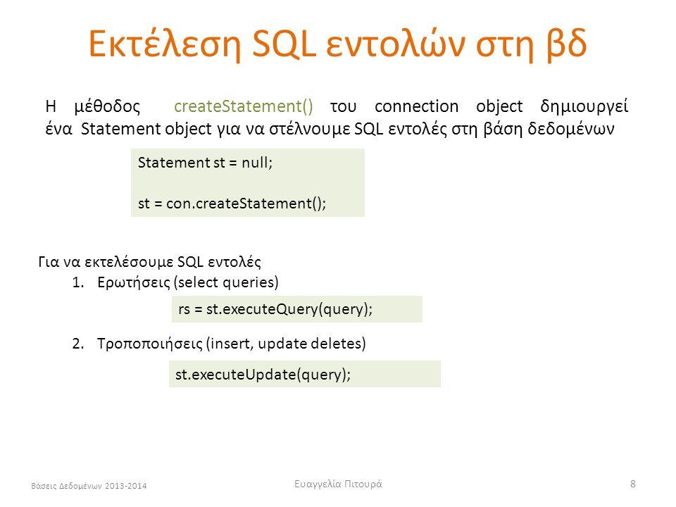 Εκτέλεση SQL εντολών στη βδ