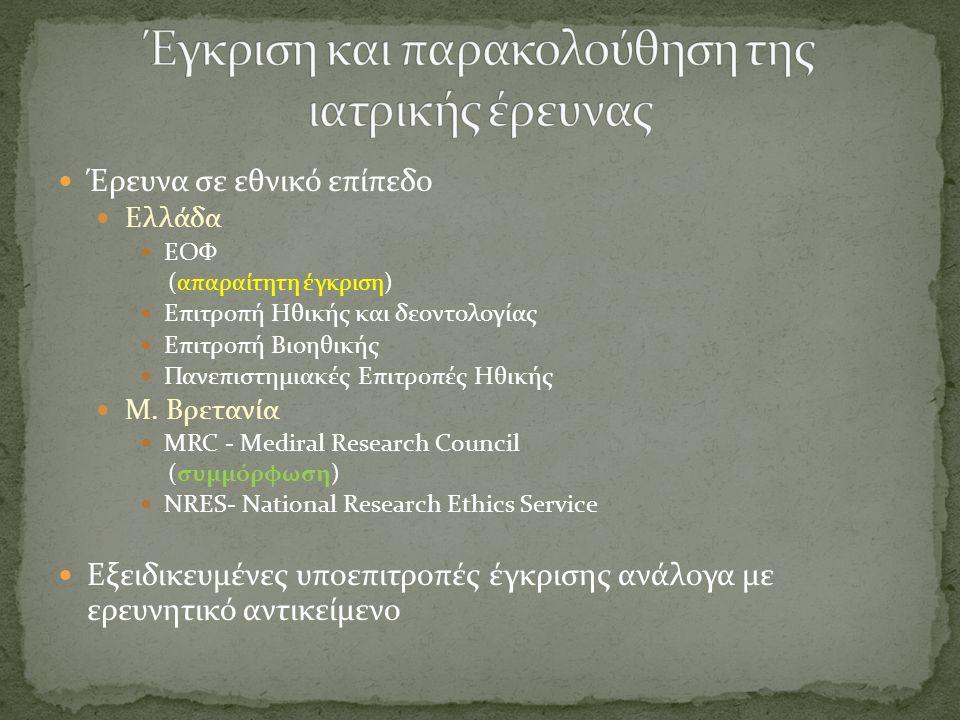 Έγκριση και παρακολούθηση της ιατρικής έρευνας