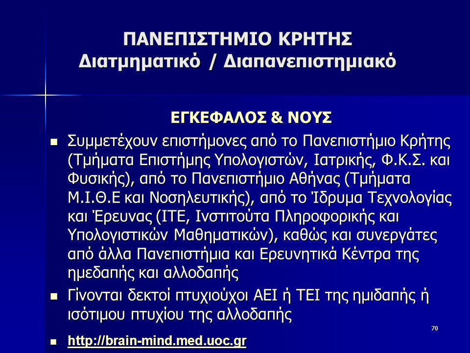 ΠΑΝΕΠΙΣΤΗΜΙΟ ΚΡΗΤΗΣ Διατμηματικό / Διαπανεπιστημιακό