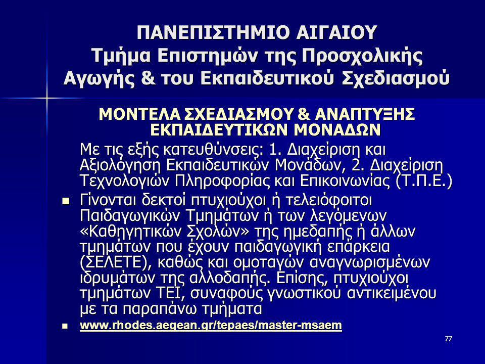 ΜΟΝΤΕΛΑ ΣΧΕΔΙΑΣΜΟΥ & ΑΝΑΠΤΥΞΗΣ ΕΚΠΑΙΔΕΥΤΙΚΩΝ ΜΟΝΑΔΩΝ