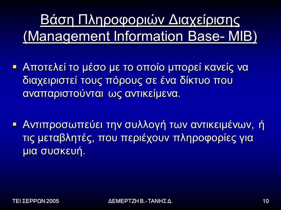 Βάση Πληροφοριών Διαχείρισης (Management Information Base- MIB)
