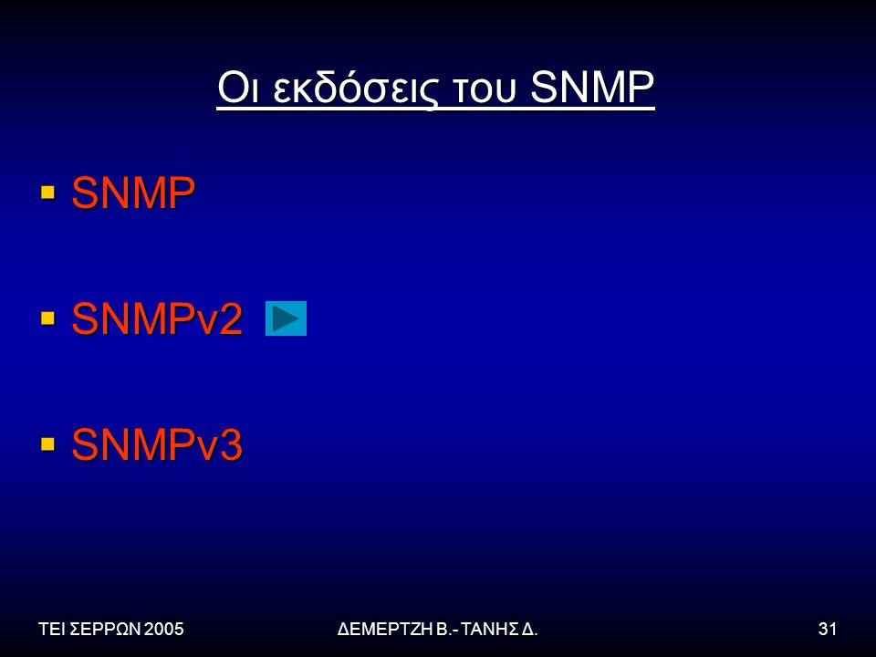Οι εκδόσεις του SNMP SNMP SNMPv2 SNMPv3 ΤΕΙ ΣΕΡΡΩΝ 2005