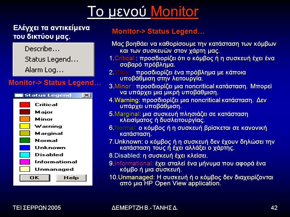 Το μενού Monitor Monitor-> Status Legend…