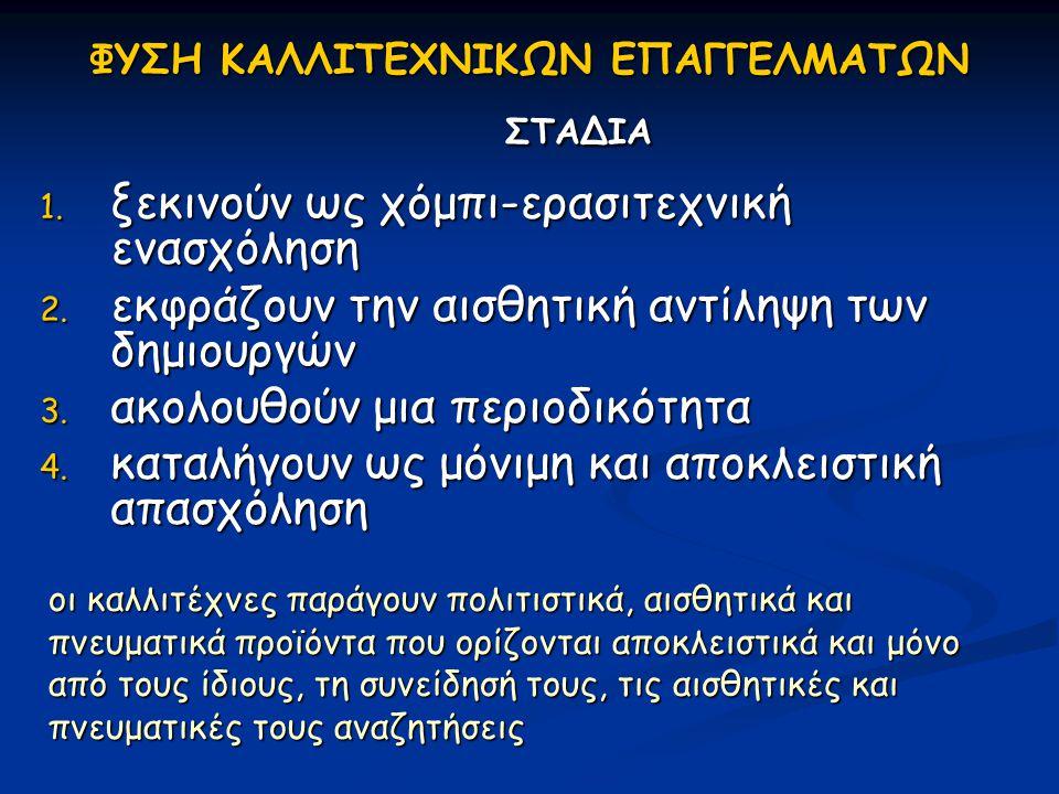 ΦΥΣΗ ΚΑΛΛΙΤΕΧΝΙΚΩΝ ΕΠΑΓΓΕΛΜΑΤΩΝ ΣΤΑΔΙΑ