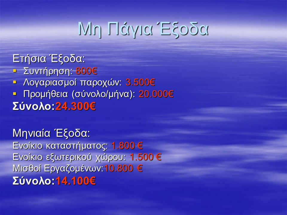 Μη Πάγια Έξοδα Ετήσια Έξοδα: Σύνολο:24.300€ Μηνιαία Έξοδα: