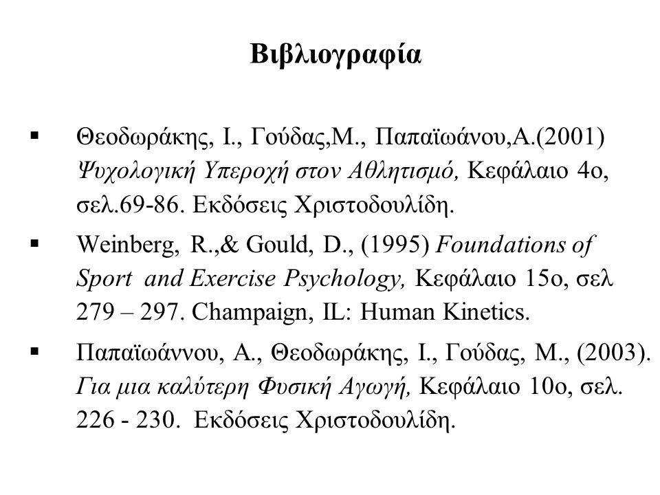Βιβλιογραφία Θεοδωράκης, Ι., Γούδας,Μ., Παπαϊωάνου,Α.(2001) Ψυχολογική Υπεροχή στον Αθλητισμό, Κεφάλαιο 4ο, σελ.69-86. Εκδόσεις Χριστοδουλίδη.