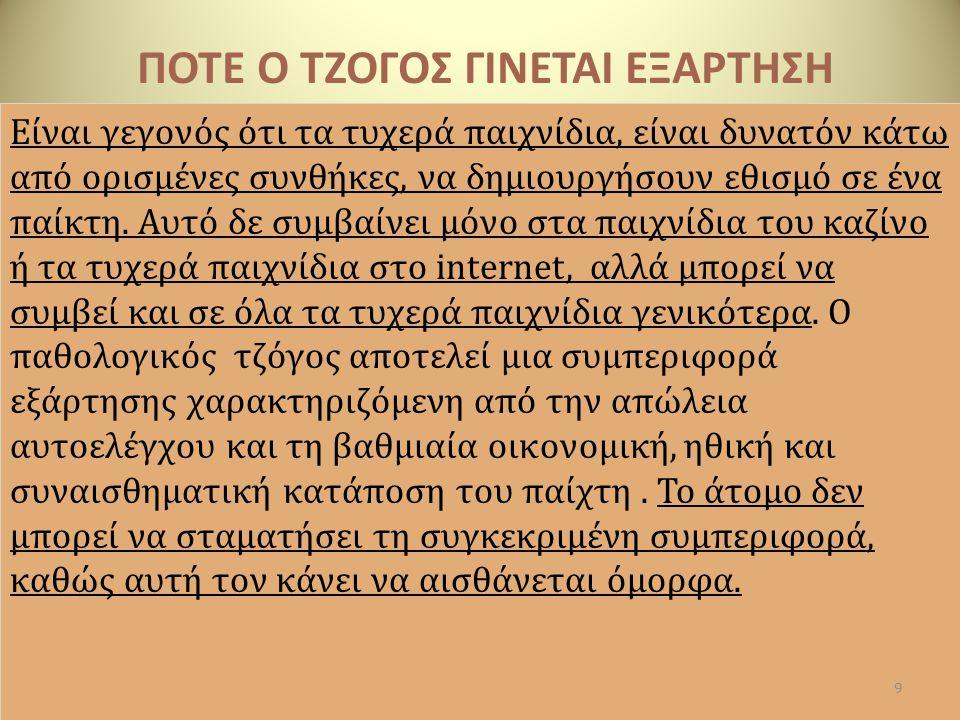 ΠΟΤΕ Ο ΤΖΟΓΟΣ ΓΙΝΕΤΑΙ ΕΞΑΡΤΗΣΗ