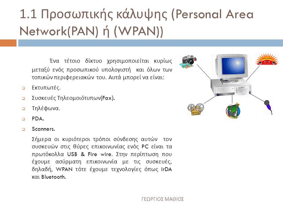 1.1 Προσωπικής κάλυψης (Personal Area Network(PAN) ή (WPAN))