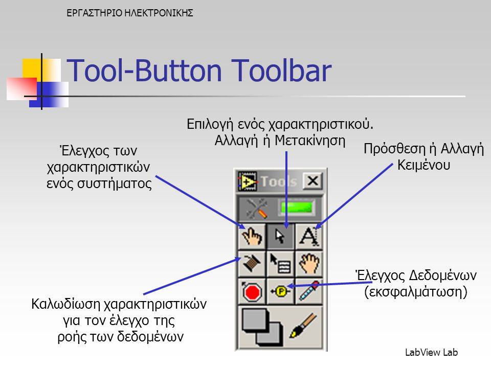 Tool-Button Toolbar Επιλογή ενός χαρακτηριστικού. Αλλαγή ή Μετακίνηση
