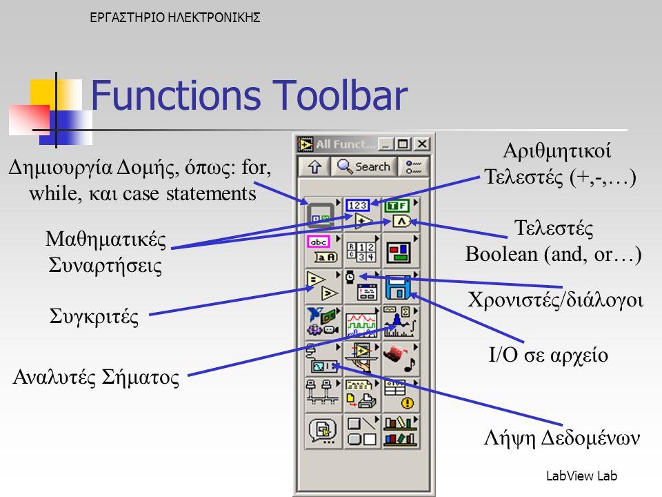 Functions Toolbar Αριθμητικοί Τελεστές (+,-,…)