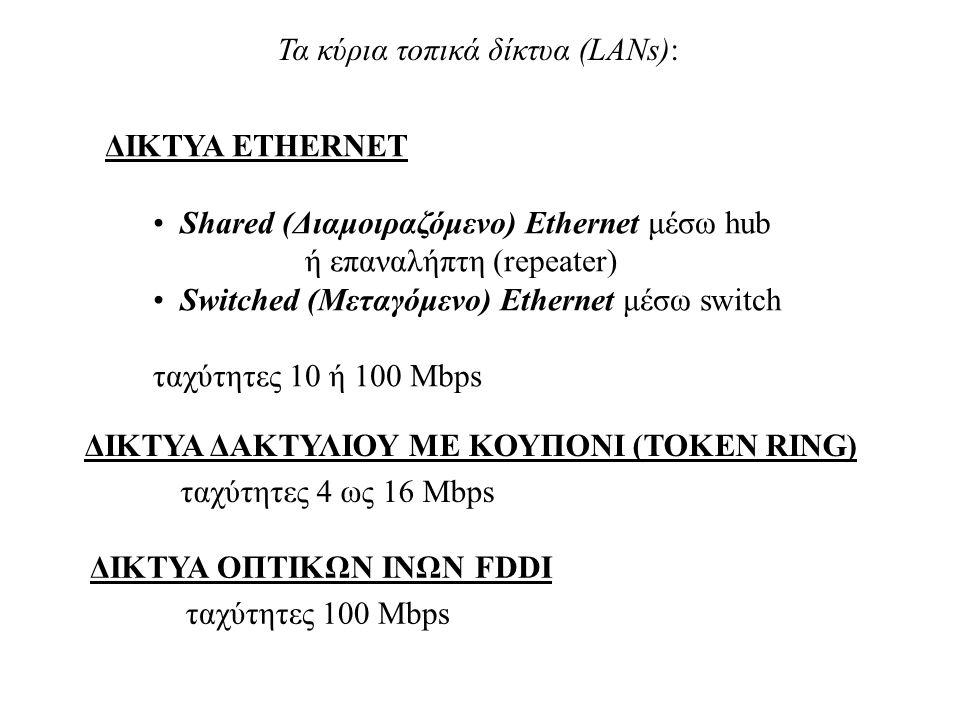Τα κύρια τοπικά δίκτυα (LANs):