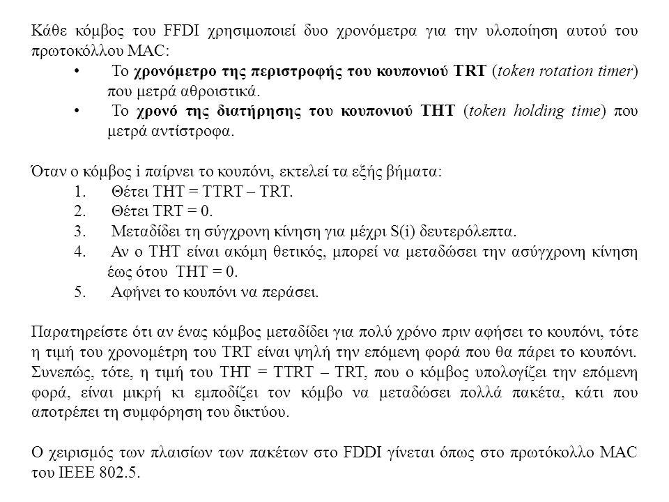 Κάθε κόμβος του FFDI χρησιμοποιεί δυο χρονόμετρα για την υλοποίηση αυτού του πρωτοκόλλου MAC: