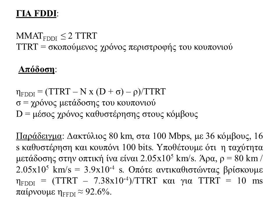ΓΙΑ FDDI: MMATFDDI ≤ 2 TTRT. TTRT = σκοπούμενος χρόνος περιστροφής του κουπονιού. Απόδοση: ηFDDI = (TTRT – N x (D + σ) – ρ)/ΤΤRT.